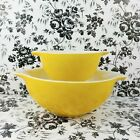 Vintage Pyrex solid yellow Sunflower Cinderella bowls sizes 441 443