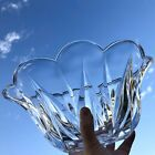 Scalloped Lead Crystal Bowl Oval Glass Serving Dish HEAVY Clear Tulip Shaped
