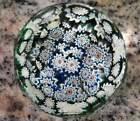 Vintage Millefiore Faceted Glass Paperweight Murano Italy