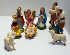 LOT OF 10 VINTAGE NATIVITY RESIN Hand Painted FIGURES MADE IN ITALY