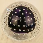 Adam Jablonski Paperweight Art Glass Purple Center with Clear Bubble Signed Tag