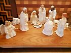 Vintage Nativity Set of 12 Hand Painted Porcelain White Gold 2000 Collection