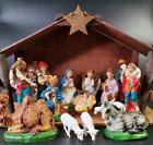 Vintage Nativity Set Italy Paper Mache Chalkware 17 Figures FREE SHIPPING