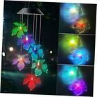 Black Maple Leaf Solar Wind Chimes Outdoor Gardening Gifts for mom Unique Birth