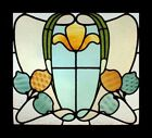 Awesome Rare Art Nouveau Floral English Stained Glass Window