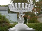 Antique EAPG Crystal RIBBON Glass FROSTED DOLPHIN Pedestal Compote Cake Stand