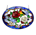 Stained Glass Tiffany Style Floral and Bird Design Window Panel Suncatcher