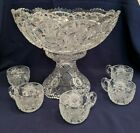 Pedestal Punch Bowl with 5 Matching Cups Cut Glass Starbursts Saw Tooth Edge