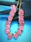RARE VINTAGE SIGNED TRIFARI PINK POURED GLASS LEAVES GOLD TONE NECKLACE TE5