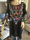 NWT JOHNNY WAS HERLIND HEAVILY EMBROIDERED BLOUSE LONG TUNIC BOHO SMALL MED 240