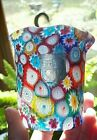 Murano Millefiori Italian Art Glass Ruffle Edge Satin Vase Toothpick Holder 3