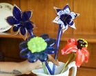 4 LONG STEM ART GLASS FLOWERS ONE MARKED ROYAL GALLERY CZECH REPUBLIC