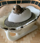 Chick Hatching From Egg On Sleigh Covered Dish Milk Glass Westmoreland
