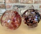 Lot Of 2 Hand Blown Glass 6 Witches Ball Orb Sun Catcher Tree Of Life Ornament