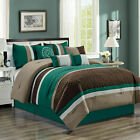 Clearance Sale 7 Piece Pleated Comforter Set Teal Brown