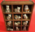 CAT FIGURINES SET OF 12 VINTAGE POTTERY SHADOW BOX CATS EMSON WOODEN PORCELAIN