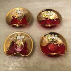 Vintage Bohemian Czech Glass Hand Painted Red  Gold Floral Trinket Dish