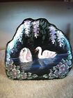 FENTON GLASS H P BY ARTIST SIGNED C C HARDMAND SWAN ICEBERG PAPER WEIGHT