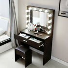 Makeup Vanity Dressing Table Set Dresser Desk with 12 Led Light Mirror Stool