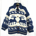 Made In Canada Native Sweater Wood Button Reindeer Pattern Wool Cowtine 40 Navy