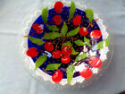 Vintage Signed Peggy Karr Cherries Shallow Bowl Fused Glass Hand Crafted Mint