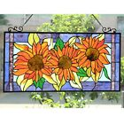 Floral Sunflower Design Stained Glass Horizontal Window Panel Suncatcher