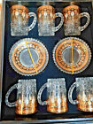 Turkish Tea Set of 12 Gold Plated Holder Glass Cups Ottoman Floral Xmas Gift