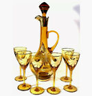 CORDIAL SET OF 7 DECANTER  6 GLASSES GOLD FLORAL DESIGNS ROMANIA VINTAGE GOLD