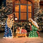 Shimmery Set 3 Nativity Holy Family Nativity Pre Lit Christmas Yard Display