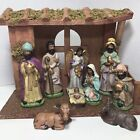 Elements Ethnic Christmas Nativity Ceramic 9 piece w Creche Stable Barn Manger