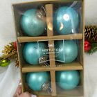 Kugel Vintage Style Silver Blown Mercury Aqua Matte Ball Ornaments SET 6 New Box
