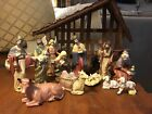 Vintage Christmas Nativity Set Hand Painted Ceramic 13 Piece Wood Stable