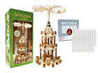 German Christmas Carousel Pyramid Nativity Windmill 21in with 20 White Candles