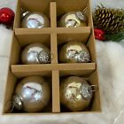 Kugel Vintage Style Silver  Gold Blown Mercury Ball Ornaments SET 6 New Box