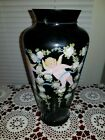 1988 Fenton Signed Louise Piper Ebony Art Glass Vase w Handpainted Cherubs