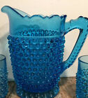 Fenton Hobnail Colonial Blue 8 1 2 Pitcher With 6 Juice Glasses