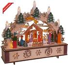 Kurt S Adler 11 Inch Battery Operated Light Up Wooden Nativity Scene With Candl