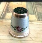 Lovely Antique Vintage Sterling Silver Guilloche Glass Top Thimble Germany