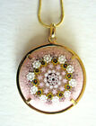 Murano Italy Millefiore Glass Mosaic Gold plated Pendant 1 1 4 32mm  Chain