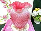 Fenton cranberry and Opalescent hobnail large ruffled VASE pink color