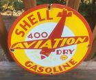 Vintage Shell Aviation Gas Heavy Porcelain Sign 12