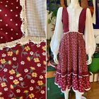 GUNNE SAX DRESS Vintage Cranberry Red White Sleeves 1970s 70s Cottagecore 9