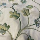 Blue  Green Embroidered Floral Pattern Curtain Fabric Material 137cm wide BR306