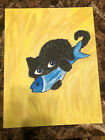 14x11 in cat playing with fish toy on carpet painting