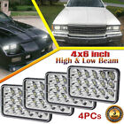 4x Chrome 4x6 LED Headlights Hi Lo Beam Kit fit for Chevy EI Camino Camaro