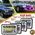 For Chevy Camaro Caprice 4x6 LED Headlights Hi+Lo Beam 4pcs Set with Halo DRL