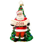 RADKO 1017134 YEARLY MAGIC - DATED 2014 - SANTA IN FRONT OF TREE ORNAMENT