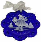 2005 FENTON Cobalt Glass Limited Christmas Ornament Mary Gregory Ice Skating OIB