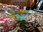 Gorgeous Colors Hand Decorated Glass Large Bowl Made in Turkey