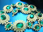 LOVELY SCAASI LOOK OF REAL EMERALD GREEN GLASS CABOCHONS CRYSTALS GOLDTONE SET